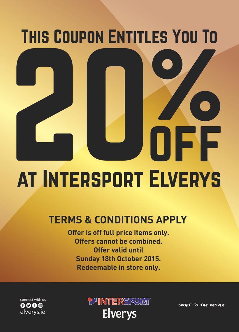 20% Off at Intersport Elverys